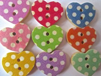 10 Wood Polka Dot Heart Shape Buttons